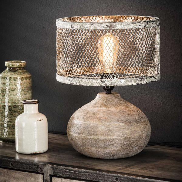 Tafellamp massief houten bolle voet - Verweerd koper