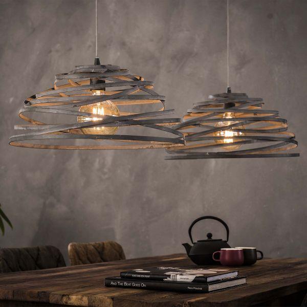Hanglamp 2xØ50 halfrond staaldraad gedraaid - Grijs