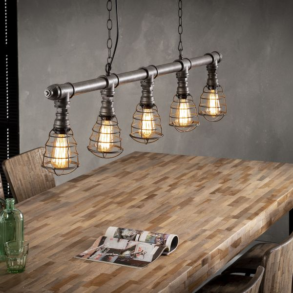 Hanglamp 5xØ12 industrial tube wire - Oud zilver