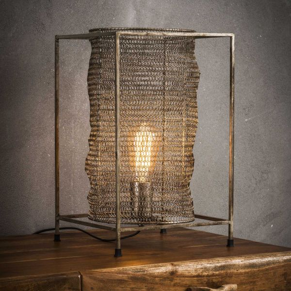 Tafellamp rechthoek mesh - Antiek Nikkel