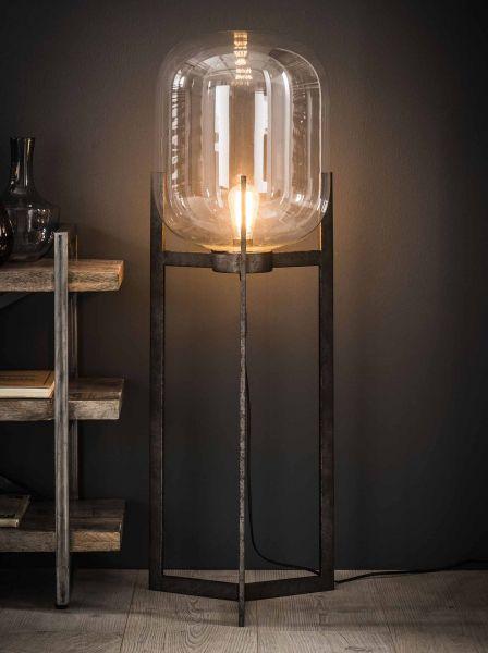 Vloerlamp glazen kap 3-poot - Oud zilver