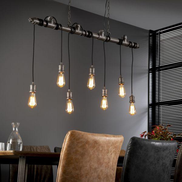 Hanglamp 7L industrial tube wikkel - Oud zilver