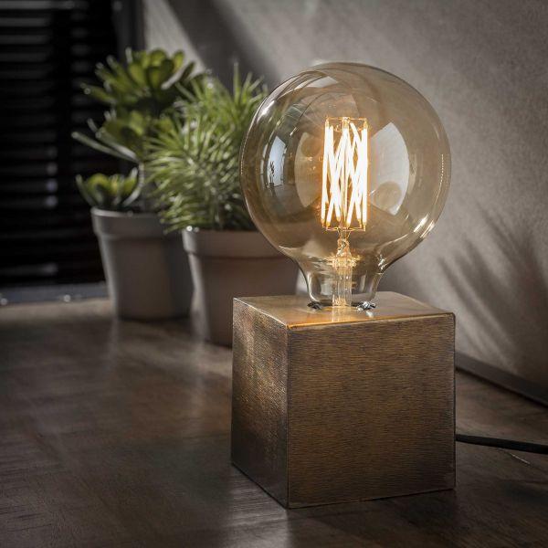 Tafellamp block-Brons antiek