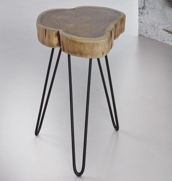 Bijzettafel stam in 6cm dik massief acacia voorzien van stalen frame. Verpakt per 6 stuks. - naturel