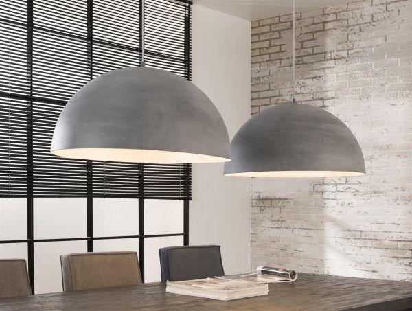Hanglamp industry concrete halfronde kappen van Ø60 cm. - Grijs