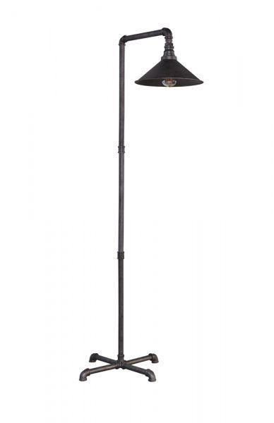 Vloerlamp industrial tube tapse kap - Oud zilver