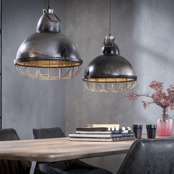 Hanglamp met 2 kappen van Ø38 cm in metaal met een raster - Oud zilver