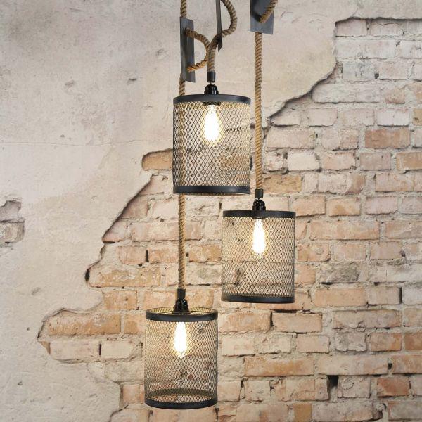 Hanglamp 3xØ20 mesh verstelbaar touw getrapt - Grijs