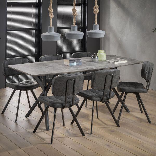 Eetkamertafel 190 ovaal blad zwart gepoedercoat frame - grijs
