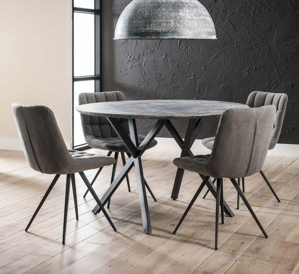 Eetkamertafel Ø120 zwart gepoedercoat frame - grijs