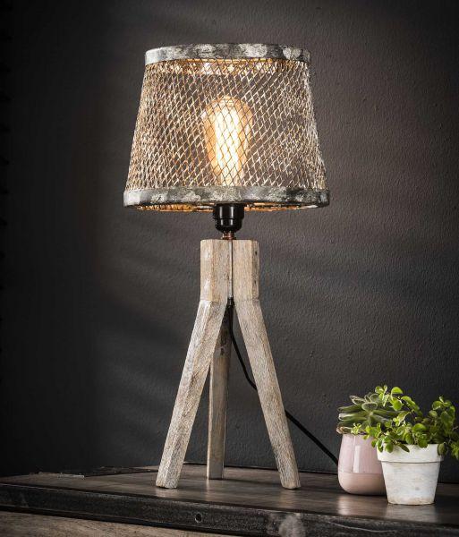 Tafellamp massief houten driepoot - Verweerd koper