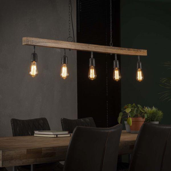 Hanglamp 5L houten balk - Massief mango naturel
