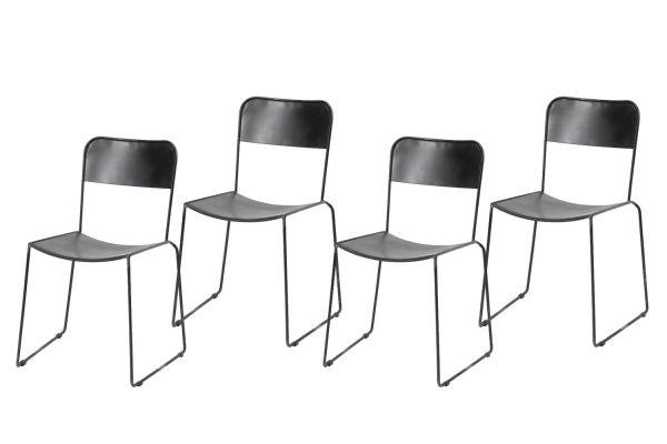 Stoel open rug - stapelbaar - Zwart (4-delige set)
