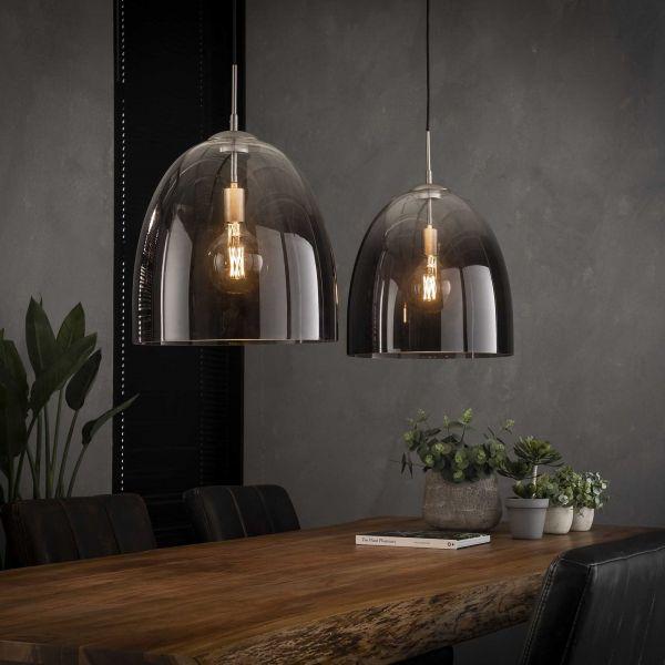 Hanglamp 2x Ø40 shaded ovaal glas - Mat nikkel