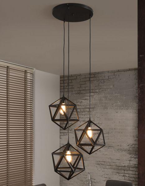 Hanglamp 3L triangle - Zwart