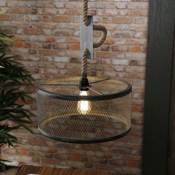 Hanglamp Ø40 mesh verstelbaar touw - Grijs
