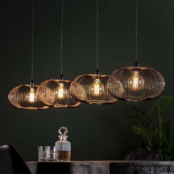 Hanglamp 4x Ø35 disk wire copper twist - Zwart nikkel