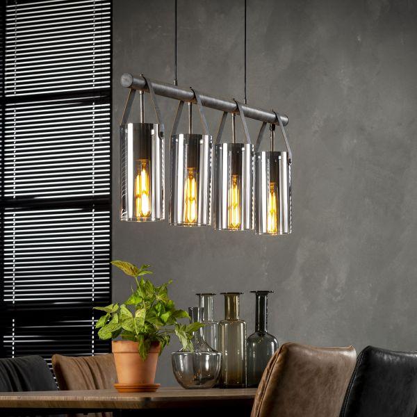 Hanglamp 4xØ12 verchroomd glas - Oud zilver