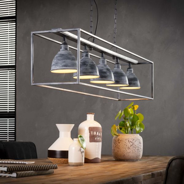 Hanglamp 5L iron rechthoek - Grijs