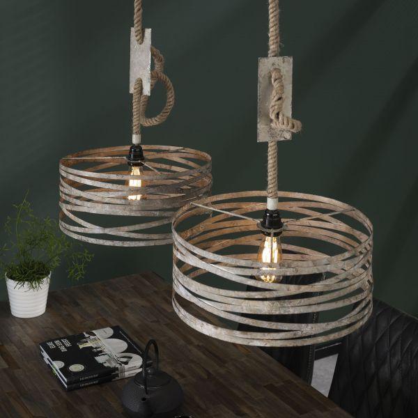 Hanglamp 2xØ40 twist verstelbaar touw - Verweerd zink