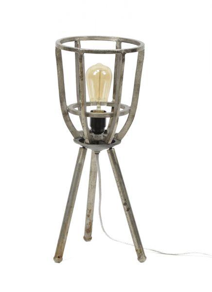 Tafellamp Ø21 basket driepoot - Antiek Nikkel