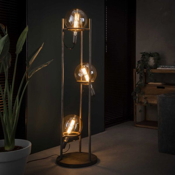 Vloerlamp 3L saturn Ø20 lichtbron - Oud zilver
