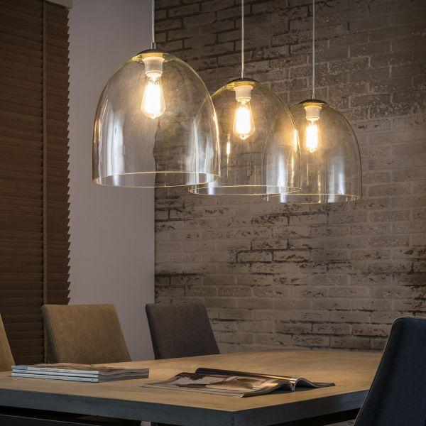 Hanglamp met 3 transparante glazen kappen van Ø33cm. - Mat nikkel