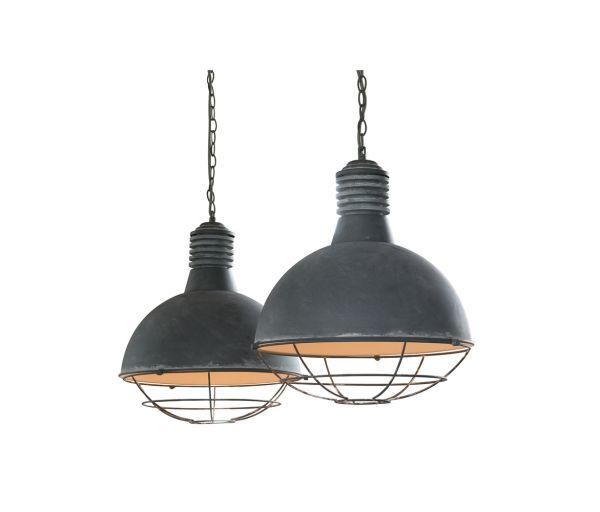Hanglamp met 2 kappen van Ø41cm met raster in industry concrete. - Grijs