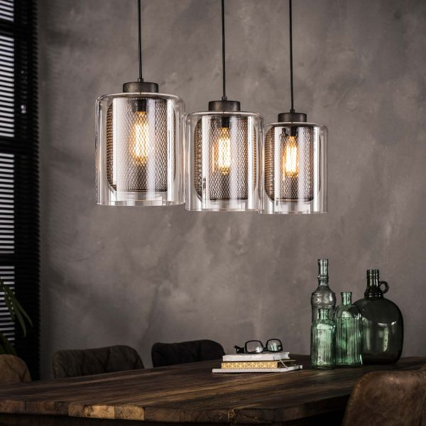 Hanglamp 3xØ20 raster-glas - Oud zilver