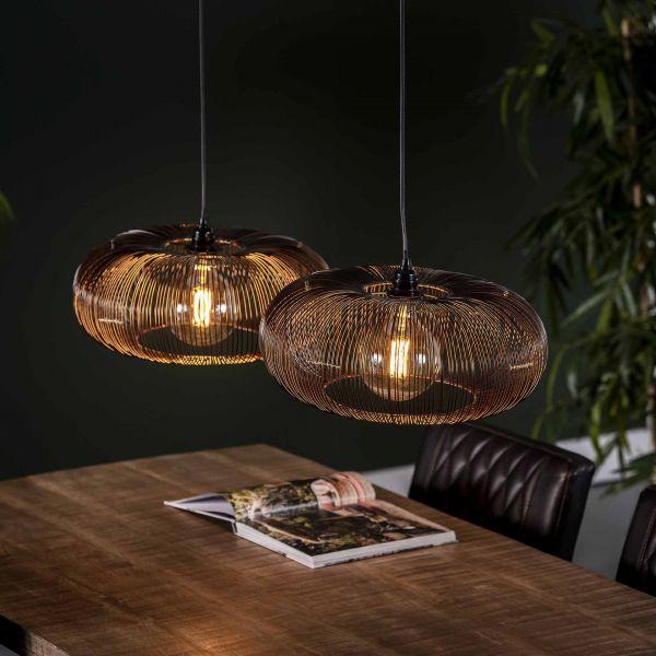 Hanglamp 2x Ø43 disk wire copper twist - Zwart nikkel