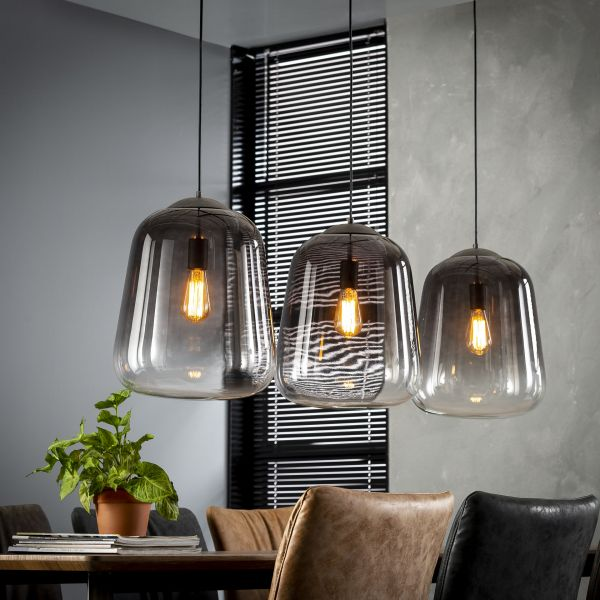 Hanglamp 3xØ32 shaded - Oud zilver