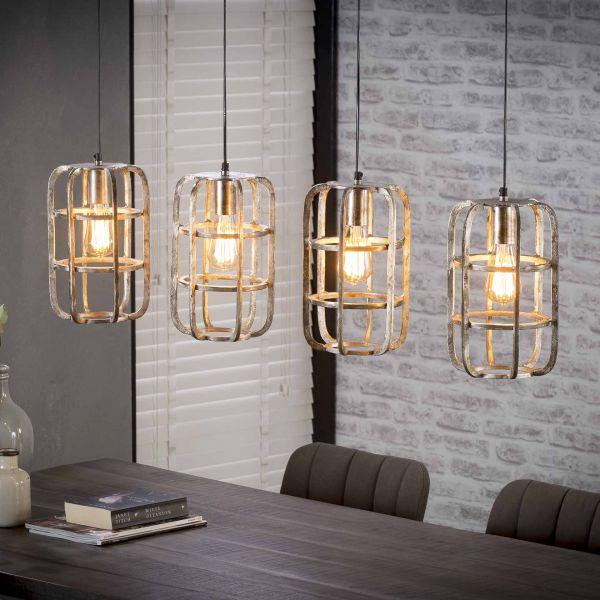 Hanglamp 4xØ20 basket rond - Antiek Nikkel