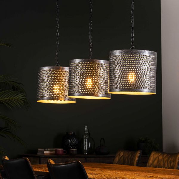 Hanglamp 3xØ30 rond punch - Burned zilverkleurig