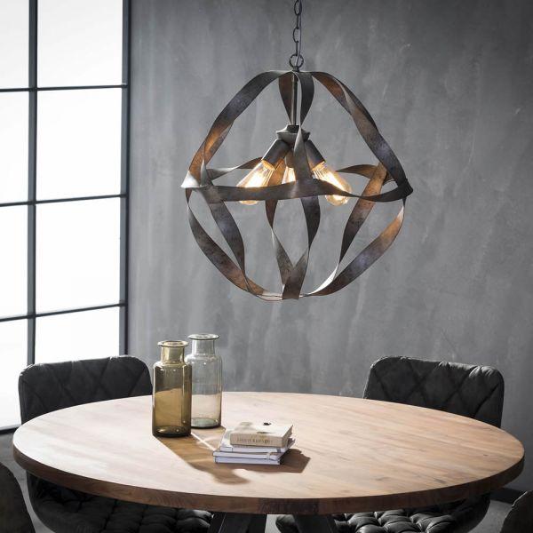 Hanglamp Ø55 twist met 3 lampen - Oud zilver