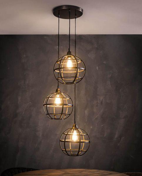 Hanglamp 3xØ33 globe getrapt - Antiek koper finish