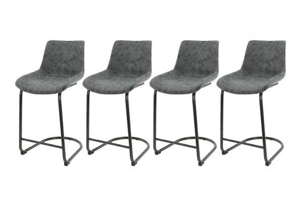 Barstoel cup swingframe ronde buis - zwart (4-delige set)