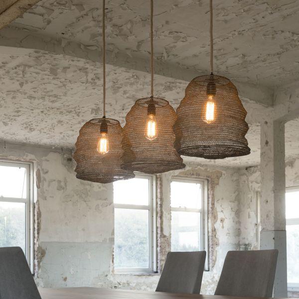 Hanglamp met 3 korven als kap van Ø30cm. - Bronze antique
