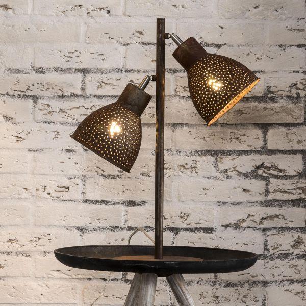 Tafellamp 2L aged iron - Bruin