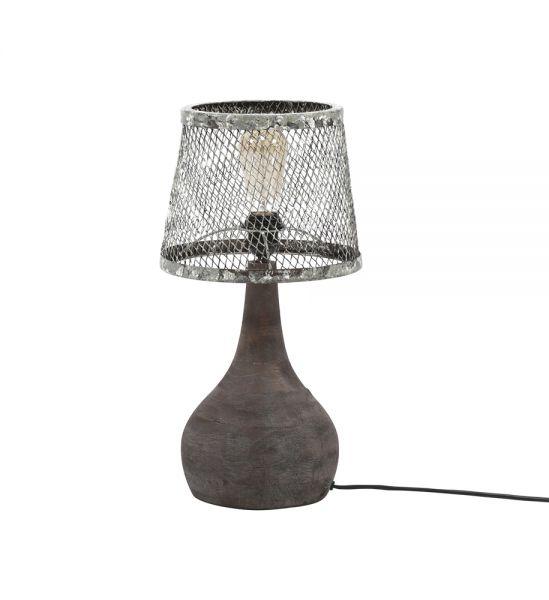 Tafellamp massief houten voet druppel - Verweerd koper