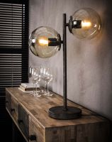 Tafellamp 2x ronde bol  - Oud zilver
