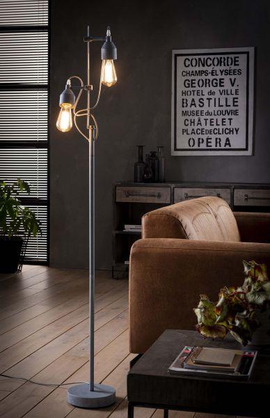 Vloerlamp 2L turn concrete - Grijs