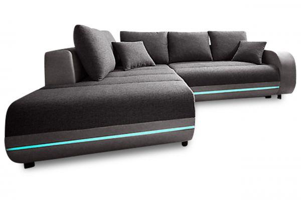 Hoekbank XL Trento - met LED en slaapfunctie - Grijs