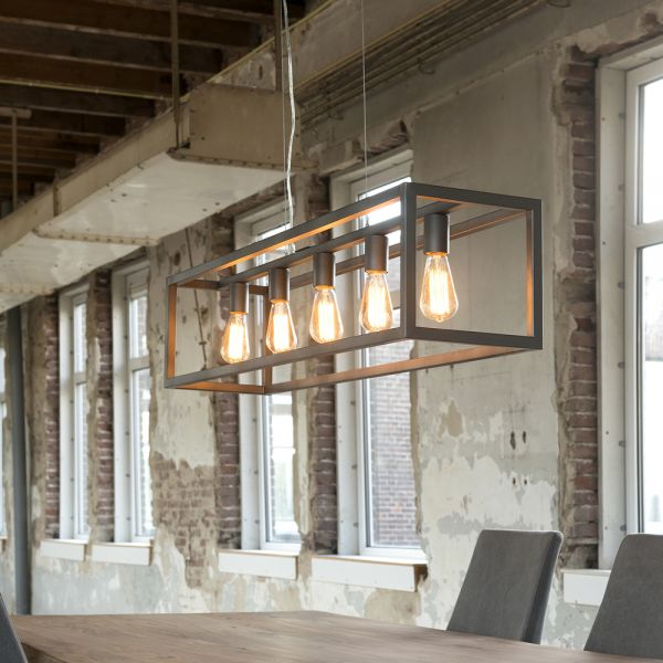 Hanglamp 5L rechthoek met vierkante buis. - Silvery finish