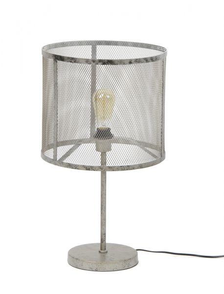 Tafellamp rond raster - Oud zilver