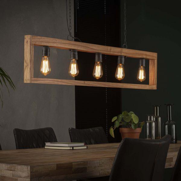 Hanglamp 5L modulo houten frame - Massief acacia naturel