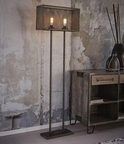 Vloerlamp rechthoek raster met 2 lampen - Oud zilver