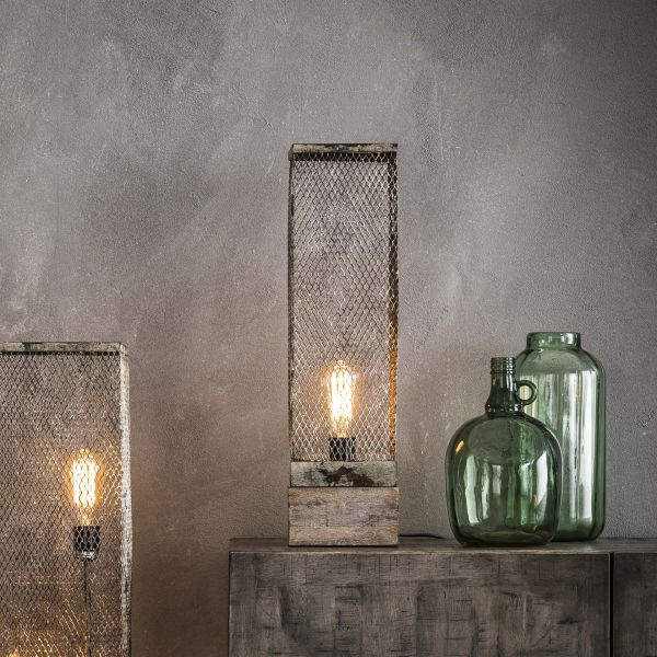 Tafellamp rechthoek mesh houten voetje - Verweerd koper