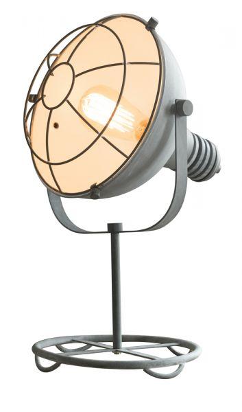 Tafellamp met ronde voet en raster in industry concrete. - Grijs