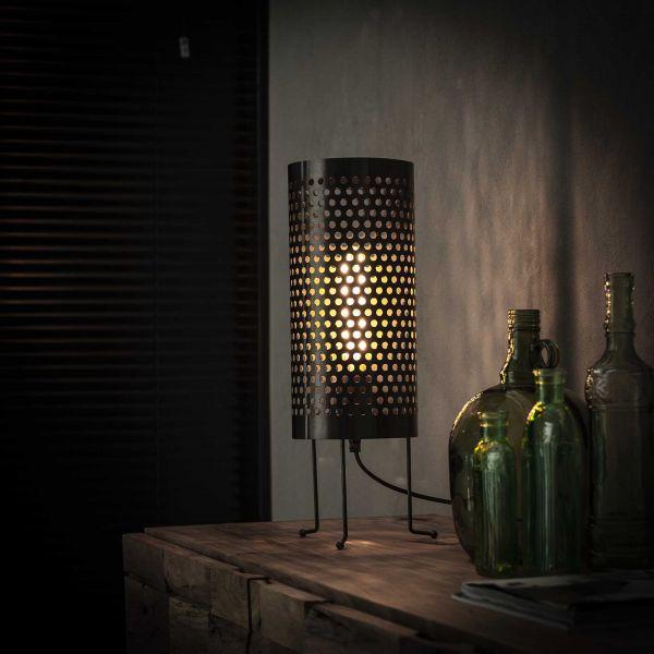 Tafellamp cilinder geperforeerd - Zwart nikkel