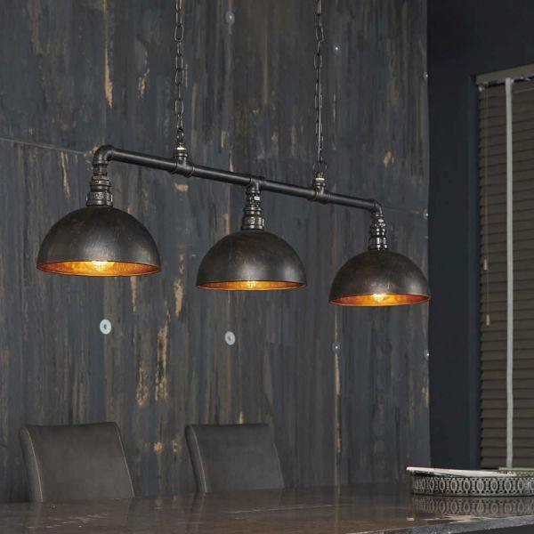 Hanglamp 3L halfronde kap-industrial tube - Zwart